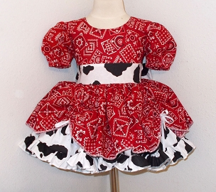 Red Bandana & Cow Print Cowgirl Twirly Square Dance Puff Sleeve Dress, with Cow Print Sash, Infant Baby Toddler Girl Pageant Dress
