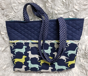 Large Quilted Navy and Dachshund Print Tote Handbag Purse Tote Bag with Doxie Print Outside and Inside Pockets Dachshund Doxie Shoulder Bag