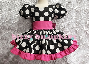 Black and White Polka Dot Puffy Sleeve Pageant Dress, Square Dance Dress with Hot Pink Sash and Ruffles Infant Baby Toddler Girls