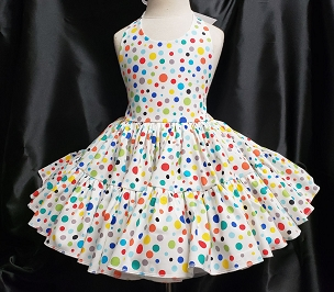 Bizzy Bumpkins Rainbow Polka Dots Print Halter Twirly Square Dance Dress Sundress Infant, Baby, Toddler, and Girls Sizes