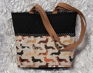 Quilted Black and Long Hair Dachshunds Print Tote Handbag Purse Tote Bag with Long Hair Dachshunds Print Outside Pockets Shoulder Bag