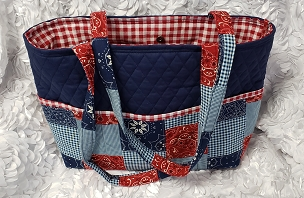 Large Navy, Red Gingham, and Bandana Patchwork Print Tote Handbag Purse Tote Bag with Bandana Print Outside Pockets Gingham Shoulder Bag