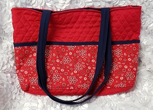 Large Red with Navy Trim Bandana Print Tote Handbag Purse Tote Bag with Bandana Print Outside Pockets Large Shoulder Bag Tote Project Bag