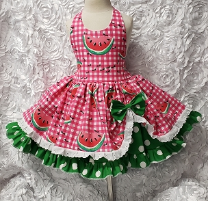 Bizzy Bumpkins Watermelon Festival Ants Hot Pink Gingham, Eyelet & Green Polka Dot Twirly Square Dance Halter Dress Sundress Infant Baby Toddler Girls