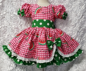 Bizzy Bumpkins Watermelon Festival Ants Hot Pink Gingham, Eyelet & Green Polka Dot Twirly Square Dance Puff Sleeve Dress Infant Baby Toddler Girls