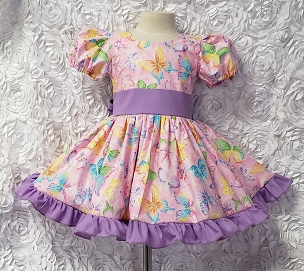 Glitter Rainbow Butterflies Puffy Sleeve Dress Pageant Dress with Lilac Sash and Ruffles Infant Baby Toddler Girl Birthday or Occasion Dress