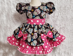 Bizzy Bumpkins Sugar Skulls Day of the Dead, Dia de Muertos & Hot Pink Polka Dot Twirly Square Dance Puff Sleeve Dress Infant Baby Toddler Girls