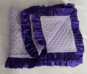 Minky 30x36 Baby Blanket with Satin Ruffle Trim. Choose colors for minky blanket throw and color for satin trim. Soft Minky Baby Blanket