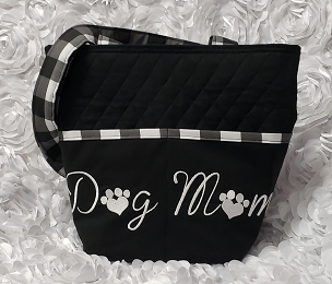 Dog Mom Embroidered Buffalo Check Quilted Tote Handbag Purse with Buffalo Check Print Handles. Dog Mom White and Black Shoulder Bag Purse