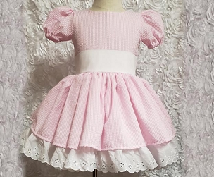 Spring Pink Striped Seersucker and Eyelet Dress with white sash by Bizzy Bumpkins