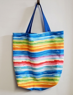Handmade Fully Lined Blue and Bright Stripes Beach and Shopping Tote, Beach Bag, Shopping Bag, Tote Bag, Project Bag, Reusable Shopping Bag