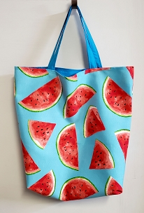Handmade Fully Lined Watermelon Print Beach and Shopping Tote, Beach Bag, Shopping Bag, Tote Bag, Project Bag, Reusable Shopping Bag