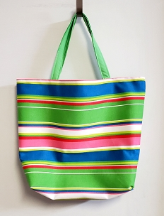 Handmade Fully Lined Green Bright Stripes Beach and Shopping Tote, Beach Bag, Shopping Bag, Tote Bag, Project Bag, Reusable Shopping Bag