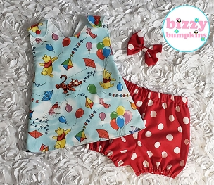 Winnie the Pooh Pinafore Set in infant and toddler sizes