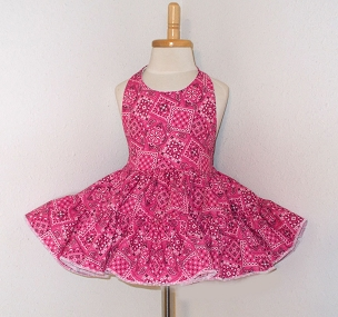 Hot Pink Bandana Cowgirl Twirly Halter Square Dance Dress Sundress Infant Baby Toddler Girls