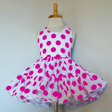 Bizzy Bumpkins White with Hot Pink Polka Dots Halter Twirly Square Dance Dress Sundress Infant, Baby, Toddler, and Girls Sizes