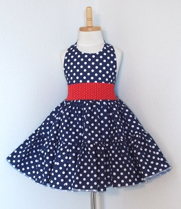 Navy Polka Dot Twirly Halter Dress with Red Pin Dot Polka Dot waist and full ruffled skirt Baby Toddler, and Girl Sizes