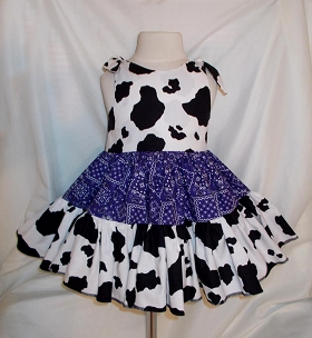 Cowgirl Twirly Sundress Square Dance Dress with Cow and Purple Bandana print cool cotton fabrics, Baby, Infant, Toddler and Girl's sizes