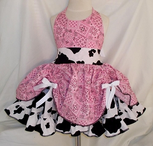 Pink Bandana & Cow Print Cowgirl Twirly Square Dance Dress Sundress Infant Baby Toddler Girl Halter Dress with scrunched overskirt