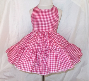 Gingham Twirly Halter Dress Sundress with full ruffled skirt Infant Baby Toddler Girls Square Dance Twirly Dress, Your Choice Color