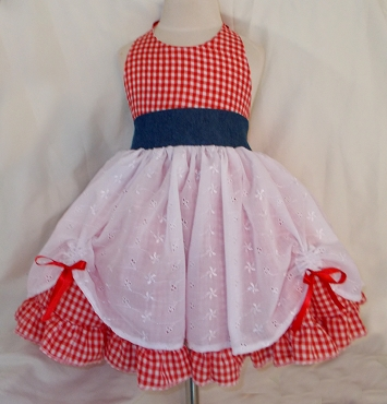 Gingham Eyelet and Denim Country Girl Cowgirl Twirly Square Dance Dress Sundress Infant Baby Toddler Girl