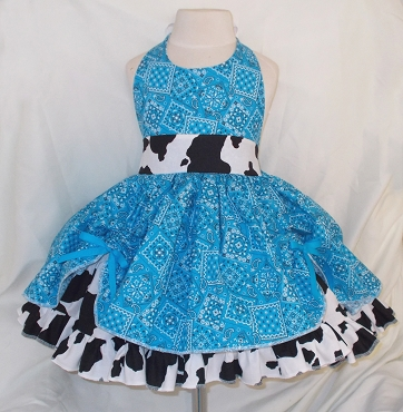 Turquoise Bandana & Cow Print Cowgirl Twirly Square Dance Dress Sundress Infant Baby Toddler Girl Halter Dress with scrunched overskirt