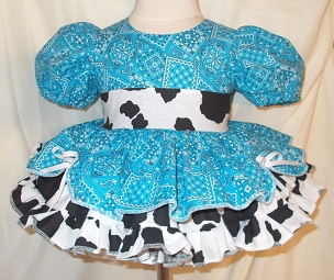 Turquoise Bandana & Cow Print Cowgirl Twirly Square Dance Puff Sleeve Dress, with Cow Print Sash, Infant Baby Toddler Girl Pageant Dress
