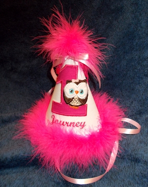 Bizzy Bumpkins Hot Pink and White Little Owl Birthday hat appliqued and embroidered with colors of your choice. Custom with Birth Year number and Personalize with Name