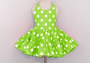 Bizzy Bumpkins Lime with White Polka Dots Halter Twirly Square Dance Dress Sundress Infant, Baby, Toddler, and Girls Sizes