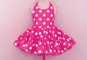 Bizzy Bumpkins Hot Pink with White Polka Dots Halter Twirly Square Dance Dress Sundress Infant, Baby, Toddler, and Girls Sizes