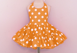 Bizzy Bumpkins Orange with White Polka Dots Halter Twirly Square Dance Dress Sundress Infant, Baby, Toddler, and Girls Sizes