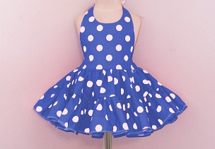 Bizzy Bumpkins Royal Blue with White Polka Dots Halter Twirly Square Dance Dress Sundress Infant, Baby, Toddler, and Girls Sizes