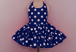 Bizzy Bumpkins Navy with White Polka Dots Halter Twirly Square Dance Dress Sundress Infant, Baby, Toddler, and Girls Sizes