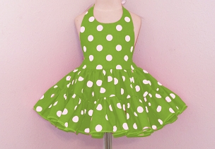 Bizzy Bumpkins Kelly Green with White Polka Dots Halter Twirly Square Dance Dress Sundress Infant, Baby, Toddler, and Girls Sizes