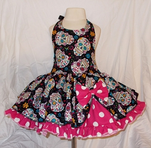 Sugar Skulls Day of The Dead & Hot Pink Polka Dot Twirly Square Dance Halter Dress Sundress Infant Baby Toddler Girls Día de Muertos