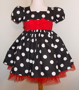 Black and White Polka Dot Shirley Temple Style Puffy Sleeve Dress Pageant Dress Infant Baby Toddler Girl, Shirley Temple Style Costume Dress