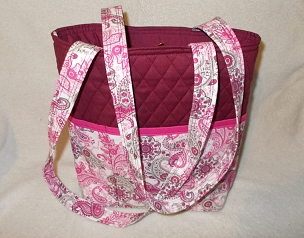Quilted Burgundy and Pink Paisley Print Tote Handbag Purse Tote Bag with Paisley Print Outside Pockets Pink Paisley Print Shoulder Bag