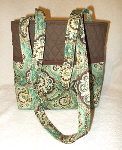 Quilted Brown and Mint Paisley Print Tote Handbag Purse Tote Bag with Paisley Print Outside Pockets Brown and Mint Shoulder Bag