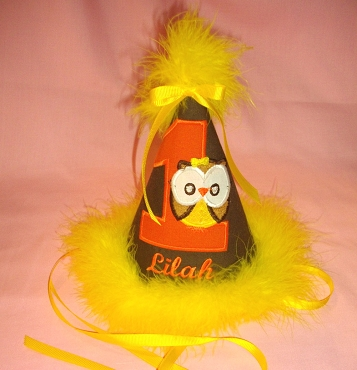 Bizzy Bumpkins Brown, Orange & Yellow Little Owl Birthday hat appliqued and embroidered with colors of your choice.