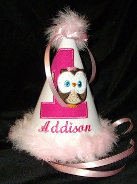 Bizzy Bumpkins White, Pink & Hot Pink Little Owl Birthday hat appliqued and embroidered with colors of your choice. Customize with birth year number and Personalize with name