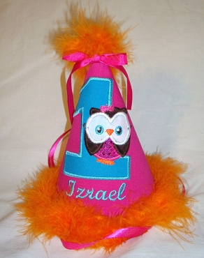 Bizzy Bumpkins Hot Pink, Turquoise, and Orange appliqued and embroidered Little Owl Birthday hat. Customize with birth year number and Personalize with name.