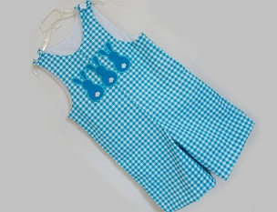 Gingham Three Bunny Boy's Shortall Jon Jon. Infant, Baby, and Toddler by Bizzy Bumpkins