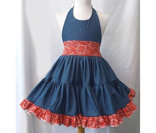 Country Denim and Red Bandana Cowgirl Twirly Square Dance Dress Halter Sundress Infant Baby Toddler Girl up to size 14/16