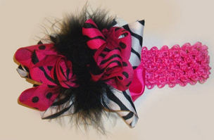Zebra and Hot Pink Wild Girl Big Bow Marabou Headband by Bizzy Bumpkins