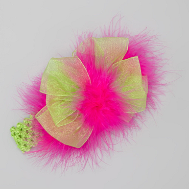 Lime Green Chiffon Ribbon and Hot Pink Marabou Big Bow Hair Bow Headband fits infants, toddlers and girls by Bizzy Bumpkins