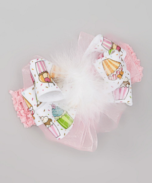 Cupcakes and Pink Pretty Birthday Celebration Big Bow Hair Bow, Hair bow Marabou Headband by Bizzy Bumpkins