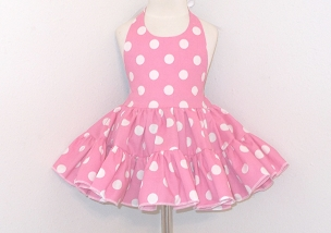 Bizzy Bumpkins Pink with White Polka Dots Halter Twirly Square Dance Dress Sundress Infant, Baby, Toddler, and Girls Sizes