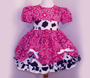 Hot Pink Bandana & Cow Print Cowgirl Twirly Square Dance Puff Sleeve Dress, with Cow Print Sash, Infant Baby Toddler Girl Pageant Dress