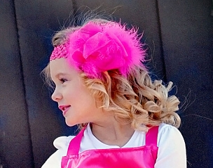 Hot Pink Chiffon Ribbon and Red Marabou Big Bow Headband fits infants, toddlers and girls by Bizzy Bumpkins