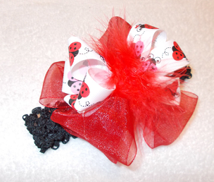 Perfect for Birthdays! Red Chiffon and Ladybugs Infant Toddler and Girls Big Bow Marabou Hair bow Headband